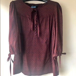 Marc By Marc Jacobs Burgundy Peasant Blouse